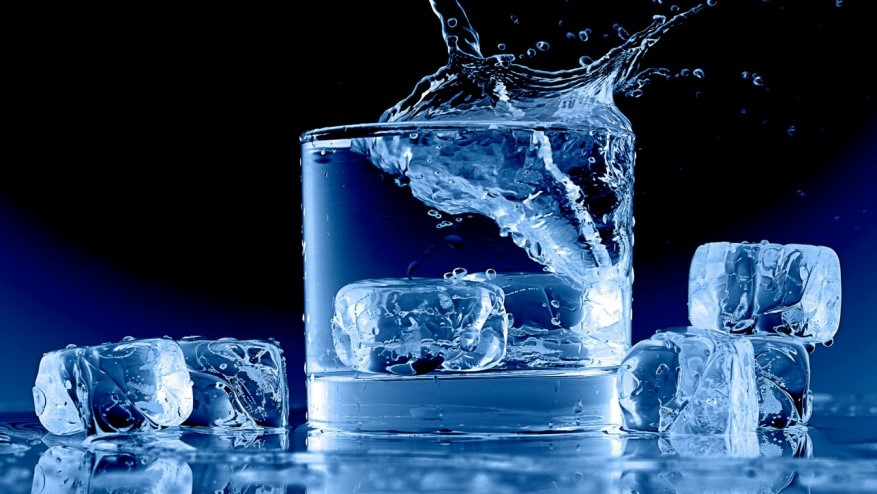 Ice cubes in a class of water